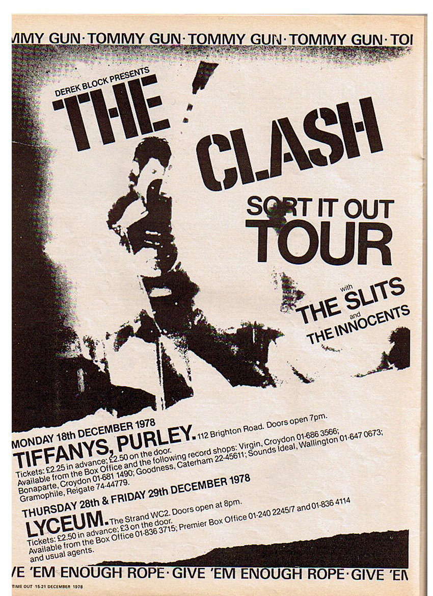 My band the Innocents  on Tour with the Clash